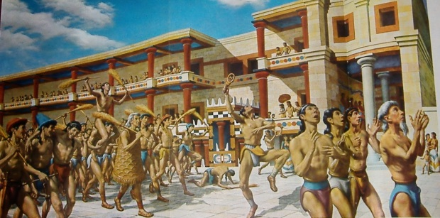 Minoan procession at the Temple at Knossos